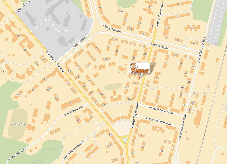 Карта: торговый дом «Малыш» в Обнинске